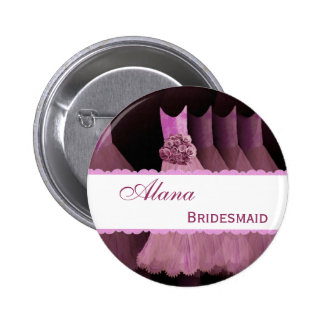 Pink Bridemaid Dresses and Lace Custom Name V01 6 Cm Round Badge