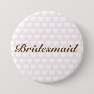 Pink bridesmaid button with hearts