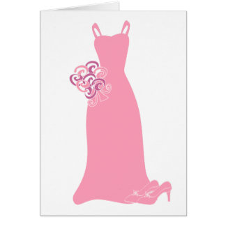 Pink Bridesmaid Dress Greeting Cards