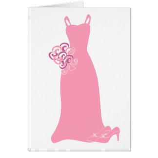Pink Bridesmaid Dress Greeting Card