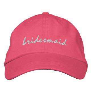 Pink Bridesmaid Embroidered Hat