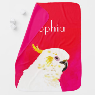 Pink Bright Cockatoo Bird Baby Blanket