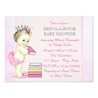 """Pink Bring a Book Baby Shower 6.5"""" X 8.75"""" Invitation Card"""