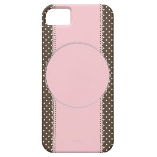 Pink Brow Polka Dots Delicate Bridal or Baby Showe iPhone 5 Cover