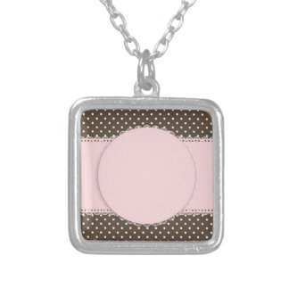 Pink Brow Polka Dots Delicate Bridal or Baby Showe Square Pendant Necklace