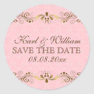 Pink Brown And Gold Damasks & Lace Round Sticker