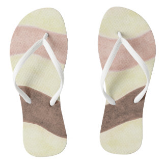 Pink Brown and White Thongs