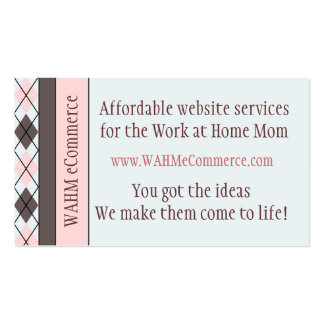 Pink & Brown Argyle Double-Sided Standard Business Cards (Pack Of 100)