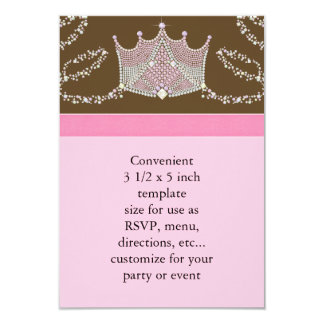 Pink Brown Baby Girl Princess Baby Shower RSVP Card