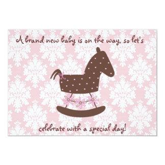 Pink & Brown Baby Shower Invitation-Damask 13 Cm X 18 Cm Invitation Card