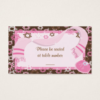 Pink & Brown Bat Mitzvah Table Place Cards