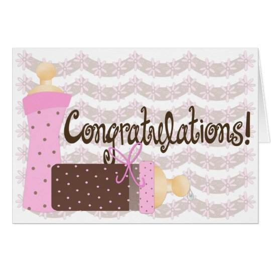Pink & Brown Bottles Baby Girl Congratulations Card