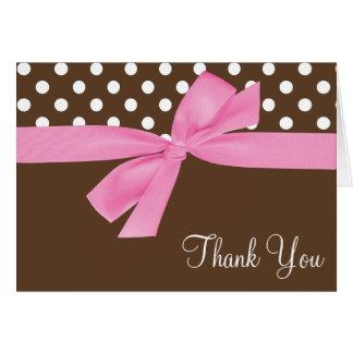 Pink Brown Bow Polka Dot Thank You Card