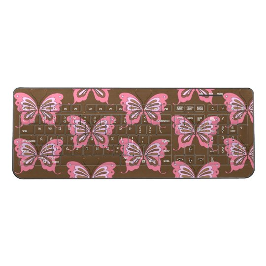 Pink Brown Butterfly Wireless Keyboard