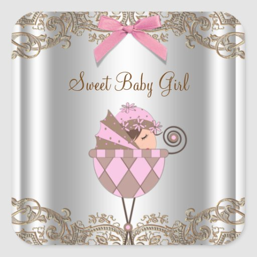 Pink Brown Carriage Baby Shower Label Sticker