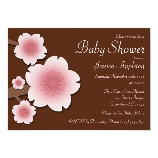 Pink & Brown Cherry Blossom Baby Shower Card