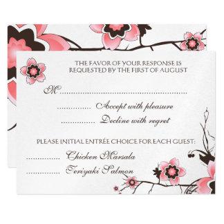 Pink & Brown Cherry Blossom  Response RSVP Card 9 Cm X 13 Cm Invitation Card
