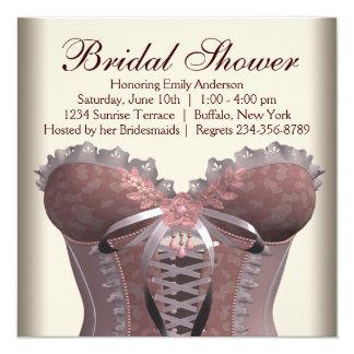 Pink Brown Corset Bridal Shower Custom Invites