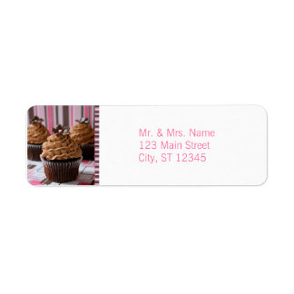 Pink & Brown Cupcakes Return Address Label