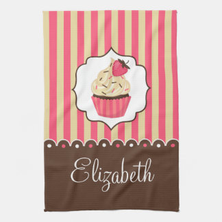 Pink & Brown Cute Cupcake With Custom Name Tea Towel