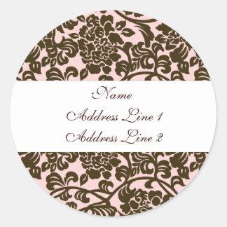 Pink Brown Damask Address Labels Round Sticker