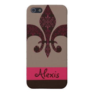 Pink & Brown Damask Fleur de Lis iPhone 5/5S Cover