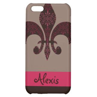 Pink & Brown Damask Fleur de Lis iPhone 5C Cover