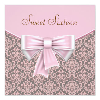 Pink Brown Damask Sweet 16 Party 13 Cm X 13 Cm Square Invitation Card