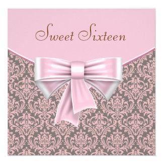 Pink Brown Damask Sweet 16 Party Personalized Invite