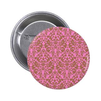Pink Brown Damask Vintage Design Pattern Pinback Button