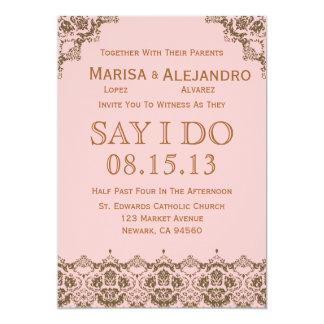 Pink Brown Damask Wedding Invitation