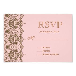 Pink Brown Damask Wedding Rsvp Invitation