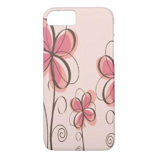 Pink & Brown Doodle Flowers Design iPhone 8/7 Case