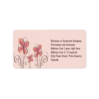 Pink & Brown Doodle Flowers Design Label