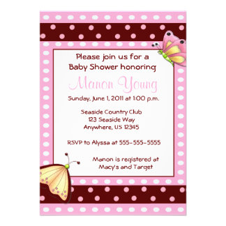 Pink Brown Dot Butterfly Baby Shower Invitation