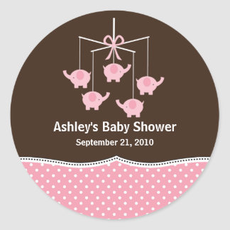 Pink Brown Elephant Mobile Baby Shower Round Sticker