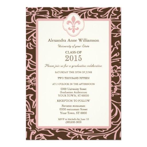 Pink Brown Fleur de Lis Floral Formal Graduation Announcement