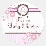 Pink & Brown Floral Design Baby Shower Sticker