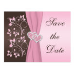 Pink, Brown Floral Hearts Save the Date Card Postcards