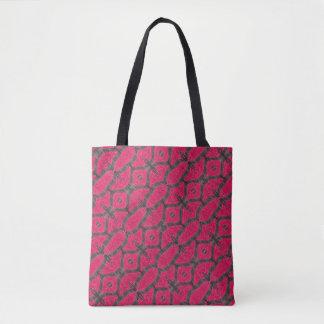Pink Brown Geometric Pattern Tote Bag