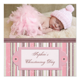 Pink Brown Girl Photo Christening Announcement