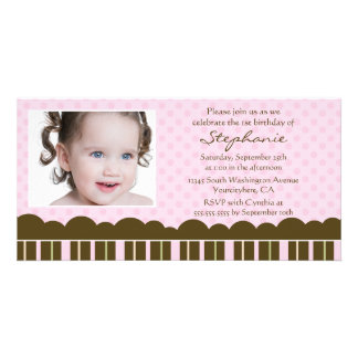 Pink brown girl's birthday party invite photocard photo greeting card
