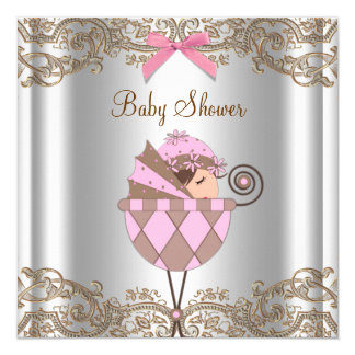 Pink Brown Lace Girl Baby Shower 13 Cm X 13 Cm Square Invitation Card