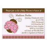 Pink & Brown Mod Ladybug Baby Shower Invitation 13 Cm X 18 Cm Invitation Card