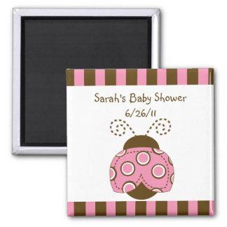 Pink & Brown Mod Ladybug Baby Shower Magnet