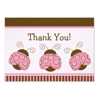 Pink & Brown Mod Ladybug Baby Shower Thank You 13 Cm X 18 Cm Invitation Card