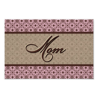 Pink Brown Mom Poster