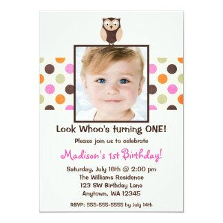Pink Brown Owl 1st Birthday Girl Photo 13 Cm X 18 Cm Invitation Card