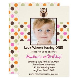 Pink Brown Owl 1st Birthday Girl Photo Card