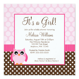 Pink Brown Owl Polka Dot Girl Baby Shower Card